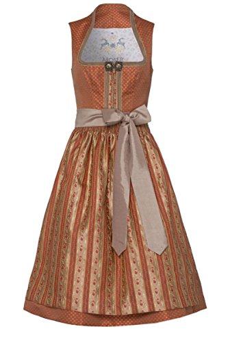 Moser® Damen Midi Dirndl 70er apricot geblümt Taupe gestreift 003250, Größe 36