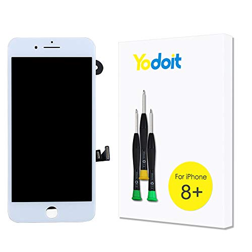 Yodoit para Pantalla iPhone 8 Plus Completa Blanco Conjunto de LCD y digitalizador Reemplazo de la táctil de vidrio con marco Repuestos (cámara frontal, Altavoz Auricular) + Herramienta (5,5 pulgadas)