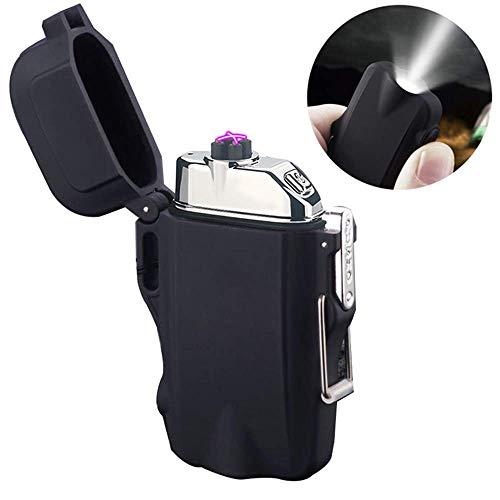 Elektrisches Plasma Feuerzeug, Wiederaufladbare Dual Lichtbogen Feuerzeug Winddicht Flammenloses Feuerzeug mit Batterieanzeige USB-Kabel Sicherheit für Zigarettenkerzen