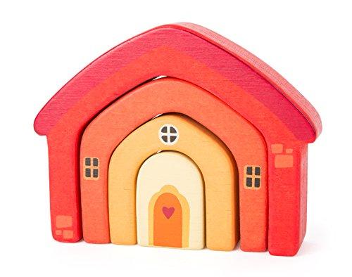 Small Foot- Maison Bois coloré Robuste. Les différents éléments s'empilent Les UNS sur Les Autres et forment Ainsi la motricité de l'enfant, 10648