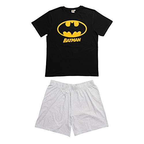 United Labels Batman Herren Schlafanzug kurz, Männer Pyjama Schwarz Grau (Large)