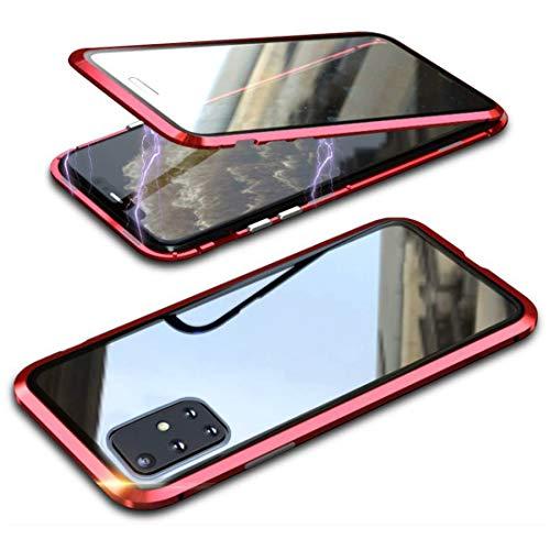 Funda para Samsung Galaxy A71 360° Magnética, cristal templado transparente de doble cara con parachoques de metal a prueba de golpes, diseño de una sola pieza, color rojo