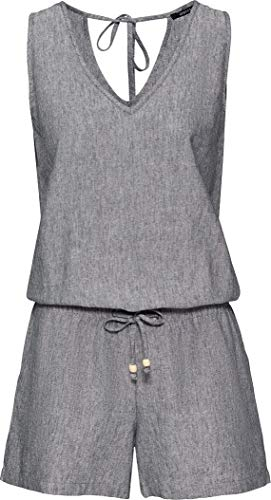 Esmara® Damen Leinen Playsuit, ärmellos - Sommer Jumpsuit (grau, Gr. 38)