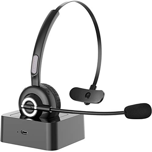 Bluetooth Headset with Microphone,Sanfant V5.0 Trucker Bluetooth Headset with Mic Noise Canceling, 18hr Talktime Headset with Standing Dock, Car Wireless Headset for Cell Phone/PC/Skype