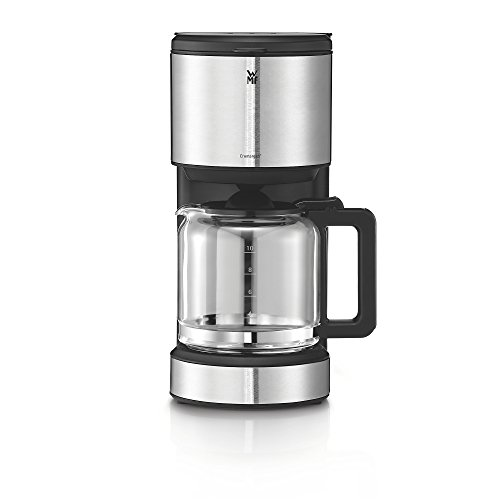 WMF Aroma Terra Cafetera con jarra de cristal de 1,2 L para 10 tazas e indicador de nivel de agua en el exterior, acabados de acero inoxidable de cromargan mate, 1000 W, 1.25 litros, negro