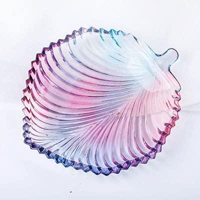 Platos creativos de vidrio,Plato de frutas de hojas creativas,Decorativo para platos de caramelo Plato de postre Ensaladera Platos de color púrpura