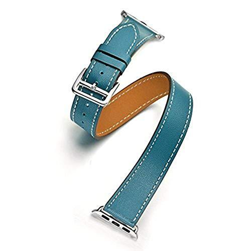 Correa Reloj Correa para Banda 44mm / 40mm 42mm / 38mm Pulsera de cinturón de Cuero Genuino de Cuero Genuino Correa Reloj Inteligente (Band Color : Blue)