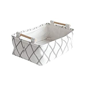 LUFOFOX Decorative Collapsible Rectangular Fabric Storage Bin Organizer Basket with Wooden Handles for Clothes and Toy Storage