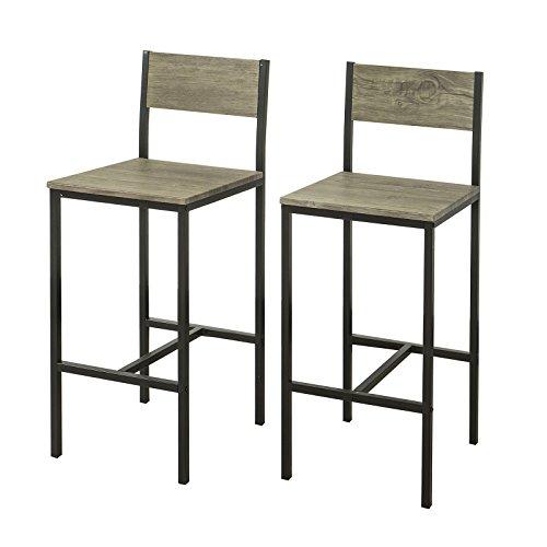 SoBuy FST53x2 2-er Set Barhocker Barstühle mit Rücken-Lehne Thekenstühle mit Fußstütze, Sitzhöhe 67 cm, BHT ca.: 34x95x41cm