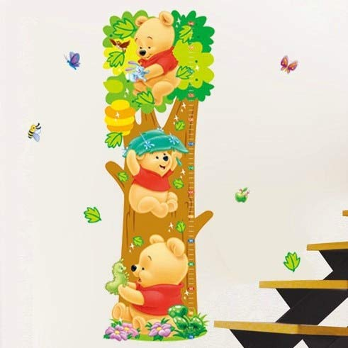 Cartoon Children Room Trees Bear Pattern Wall Stickers Height Measure For Kids Room Wall Decal Home Nursery Decals