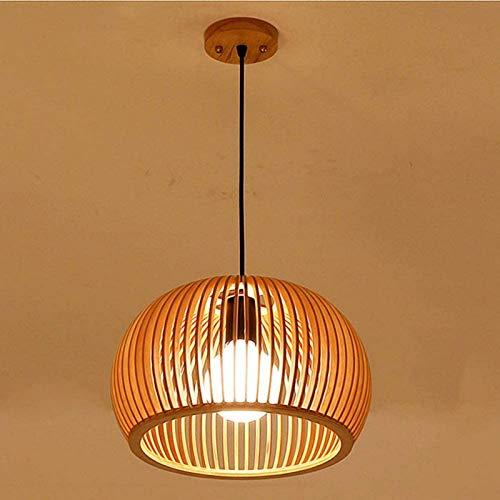 GYC Chandelierceiling Lampshade Lighting Chandelier 40Cm Mano Bambú Mimbre Rattan Calabaza Sombra Colgante de Madera Luminaria Suspensión Lámpara de Techo Mesa de Comedor