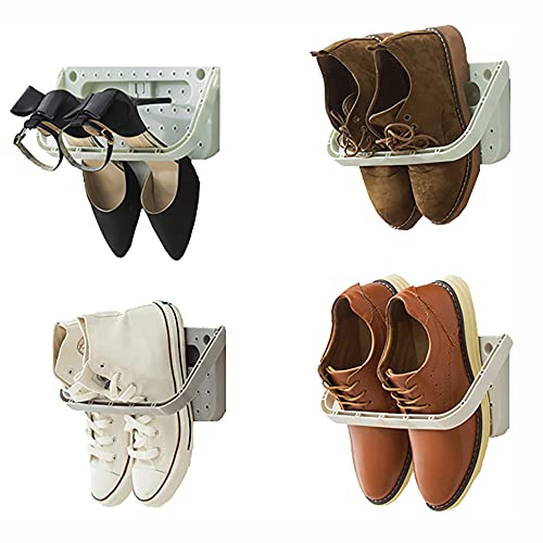 Baffect Zapatero Plegable 4 Piezas para Montaje en Pared,Zapatero Plegable Estante Colgante para el Almacenamiento de Zapatos Estante para los Zapatos Estante de Pared para los Zapatos,4 pcs Gris
