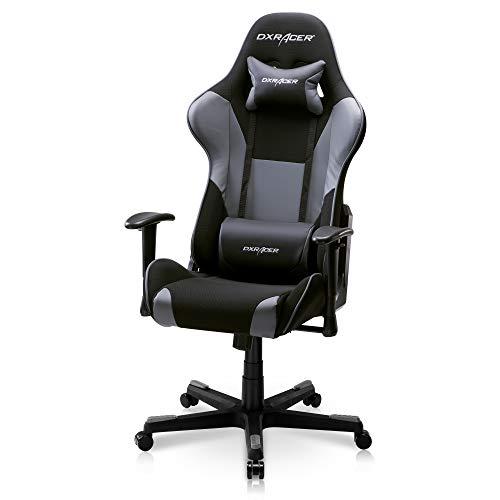 DXRacer PC-Gaming-Stuhl im Racing-Stil, höhenverstellbar, mit ergonomischem Kopfkissen und Lendenwirbelstütze, Formel-Serie, Standard, Schwarz und Grau