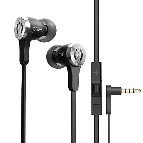 MuveAcoustics Drive Wired in-Ear Earbud Headphones - Noise Cancelling Premium Stereo Headphone Earbuds w/Mic, Ergonomic fit, Black (Renewed)