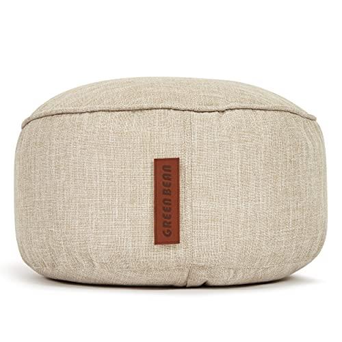 Green Bean © Home Linen Indoor Pouf Sitzhocker mit EPS-Perlen Füllung - waschbar, pflegeleicht, robust - verdeckter Reißverschluss - Fußhocker, Sitzpouf für Sitzsäcke - 25x45 cm - Sand