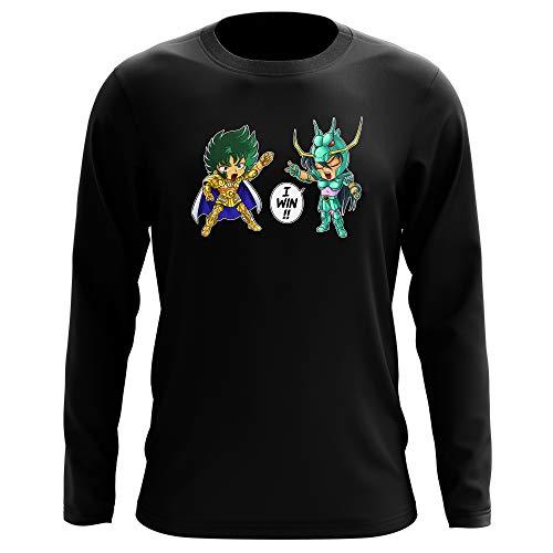 Okiwoki T-Shirt Manches Longues Noir Parodie Saint Seiya - Shiryu du Dragon et Shura Le Chevalier d'or du Capricorne - Traduction (T-Shirt de qualité Premium de Taille M - imprimé en France)
