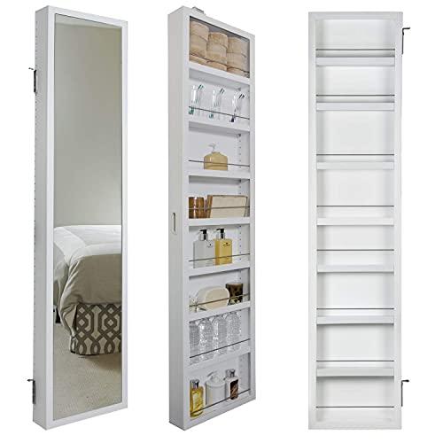 Cabidor Deluxe Mirrored Behind The Door Adjustable Medicine Cabinet, Kitchen Cabinet, & Bathroom Storage Cabinet