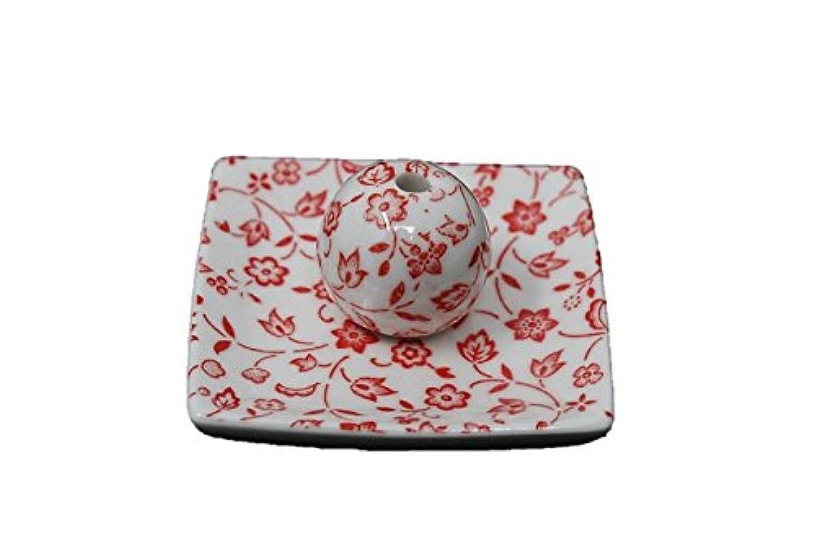 カポックささやき青写真赤小花 小角皿 日本製 美濃焼 お香立て お香たて 陶器 製造 直売品 レモングラス