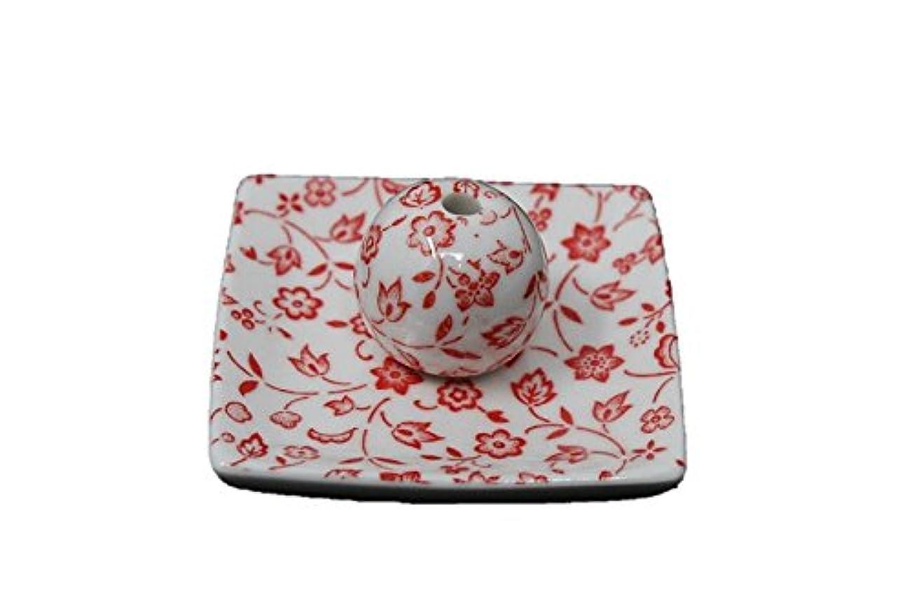 ふりをする横たわる拡張赤小花 小角皿 日本製 美濃焼 お香立て お香たて 陶器 製造 直売品 レモングラス