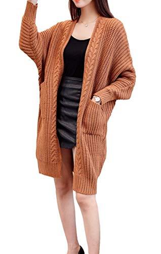 BoBo Lily Longpullover Damen Herbst Elegant Mode Cardigan Vordertaschen Langarm Strickmantel Unikat Style Casual Unifarben Trendigen Gemütlich Pullis
