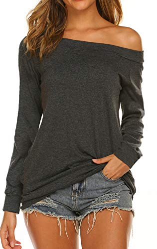 Halife Off Shoulder Tops for Women Long Sleeve Baggy Loose Fit (M, Dark Gray)