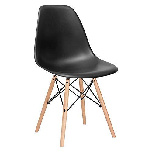 SPRINGOS Milano Skandinavischer Stuhl | Retro Design | 83x46x50 cm | für Wohnzimmer, Esszimmer, Küche, Büro | Schwarz