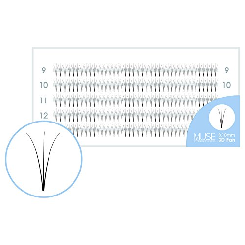 Russian Volume Lashes Pre made Fan Lashes | Short & Thin Base | MUSE Extended Lashes 3D 0.10 Faux Mink C Curl | Individual Eyelash Extensions (C 10mm)