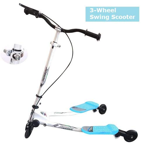 Kinder 3-Rad Swing Scooter, Faltbarer Verstellbarer Tri Slider Motion Winged Drifter Push Y Wiggle Scooter für Kinder ab 3 Jahren