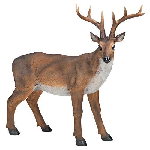 Design Toscano Grande cervo maschio Statua richiamo per cervi Statua animale, poliresina, a colori, 71 cm