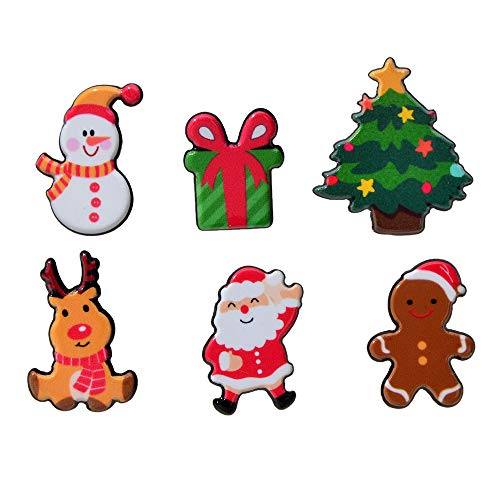 Feelontop 6 pcs/set Christmas Jewelry Colorful Acrylic Snowman Tree Santa Claus Deer Gift Box Badge Brooch Pin for Women with Jewelry Pouch