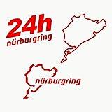 Autodomy Pegatinas Nurburgring Pack de 3 Unidades para Coche o Moto (Rojo)