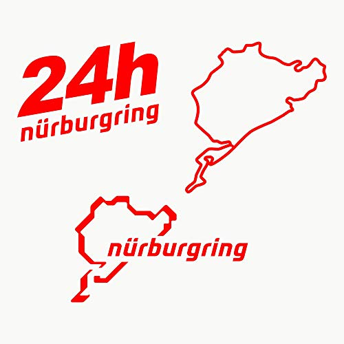 Autodomy Nürburgring Aufkleber Paket 3 Stück für Auto oder Motorrad (Rot)