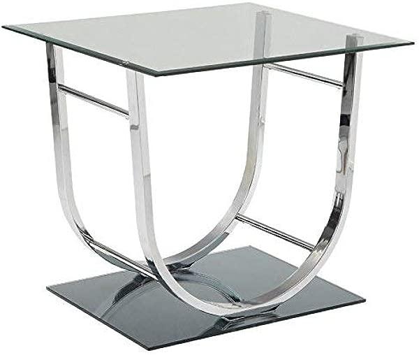 Coaster 704987 CO Glass Top End Table Chrome