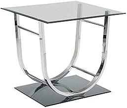 Coaster 704987-CO Glass Top End Table, Chrome