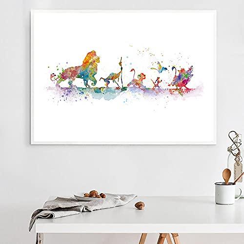 ZGZART Póster del Rey León, Pintura en Lienzo, Pintura de Acuarela, Pintura de Arte de Pared de Dibujos Animados, póster de jardín de...