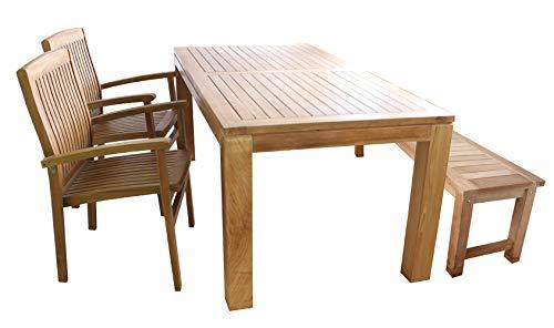 Mojawo 4-dlg. Teakhouten set eettafel 180x90x75cm + 1 teakhouten bank + 2 teakhouten stapelstoelen