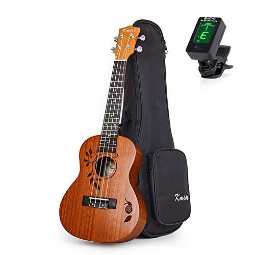 Ukulele da concerto Ukkele in mogano da 23 pollici 18 tasti Uke chitarra acustica hawaiana xilografia motivo foglia con accordatore per borsa da Kmise