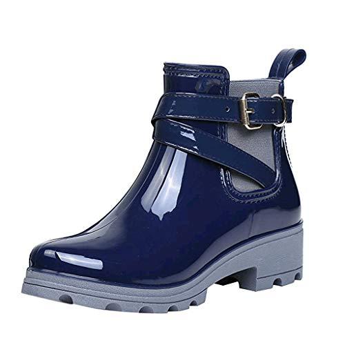 Skxinn Gummischuhe/Damen Kurzschaft Stiefel Gummistiefel Gummistiefeletten Regenstiefel Chelsea Boots mit Blockabsatz Lack Flandell Gr 35-41 (39 EU, Blau)
