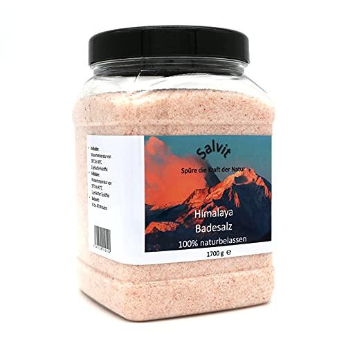 Salvit Himalaya Badesalz Kristallsalz - 100% naturbelassen in wiederverwendbarer PET Dose (1 x 1700 g)