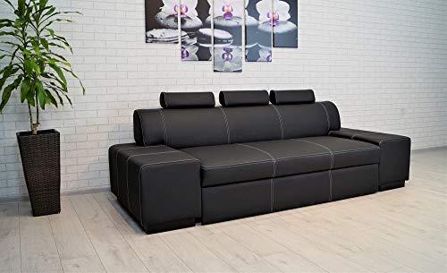 Quattro Meble Super Lange echt lederen 3-zits sofa London FS 3z breedte 238cm lederen sofa zwart echt leer Toledo Nero bank met slaapfunctie en verstelbare hoofdsteunen