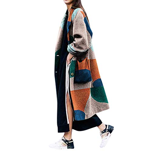 Transwen Damen Bunt Wollmantel Frühling Mantel Trenchcoat Übergangs Jacke Parka Lang Streetwear Wintermantel Winterjacke