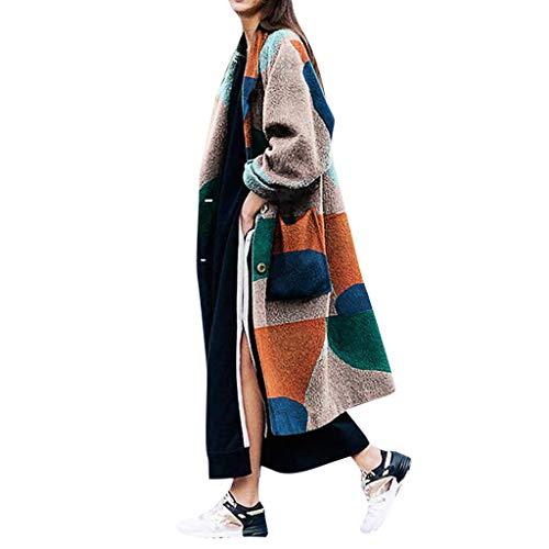 KEERADS Damen Trenchcoat Mantel Langen Wollmantel Winterjacke Übergangsjacke Wintermantel Druck Mode Lässige Outwear Parka Cardigan