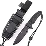 HX OUTDOORS - EDC Fixed Blade Survival Knives with Sheath,Tanto Blade,Ergonomic Non-Slip G10 Handle, with Fire Starter,Sharpener and Tail Hammer for Hunting,Camping,Fishing, Bushcraft