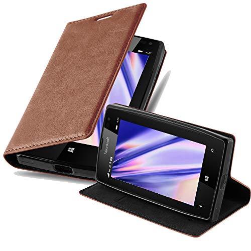 Cadorabo Hülle für Nokia Lumia 435 - Hülle in Cappuccino BRAUN – Handyhülle mit Magnetverschluss, Standfunktion & Kartenfach - Case Cover Schutzhülle Etui Tasche Book Klapp Style