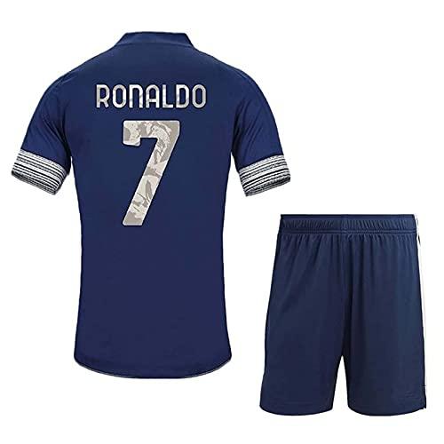 HKIASQ Camiseta De Fútbol, Camisetas De Fútbol De Local Y Visitante N. ° 7 Ronaldo 2021, Trajes De Fútbol para Niños Adultos, Pantalones Cortos De Fútbol De Manga Corta, Traje Deportivo,Azul,18