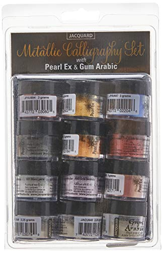 Jacquard Pigment, 3g Jars, Pearl Ex Metallic Calligraphy Set, None, 12