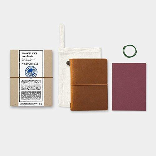 Midori Traveler's Notebook Leather Bundle Set , Passport Size Camel , Refill Connection Rubber Band 011 , Clear Zipper Case 004 Photo #5