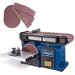 Szlifierka taśmowa Scheppach BTS 900 (szlifierka z 370W, 230V, 2850 min-1, płyta szlifierska 150mm, włącznie z 3x papierem szlifierskim i 3x taśmą szlifierską) szlifierką taśmową