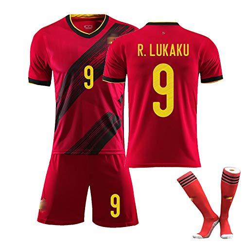 ZYWCXM Herren Kinder Fußballtrikot 2020 Belgien 10#Hazard 7#De Bruyne 9#Lukaku Trikot Fußball Uniform mit Socken NO.9-22
