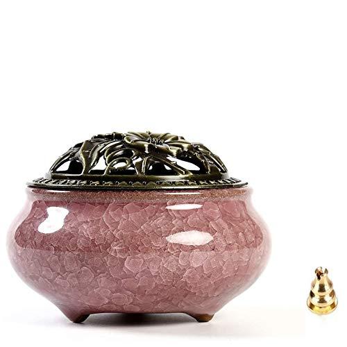 Quemador de incienso de cerámica - Incensario de carbón de porcelana con soporte de varilla de incienso de calabaza de latón y cubierta metálica, exquisitamente duradera, para ayudar a dormir (Rosado)